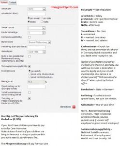 German tax calculator explanation