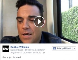 Robbie Williams loves Germany and wants a job here.
