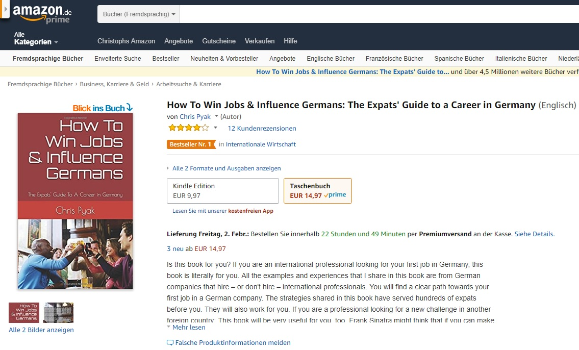 "Jobseeker Visa Germany. Get a realistic plan by Amazon ""Bestseller"" author Chris Pyak."