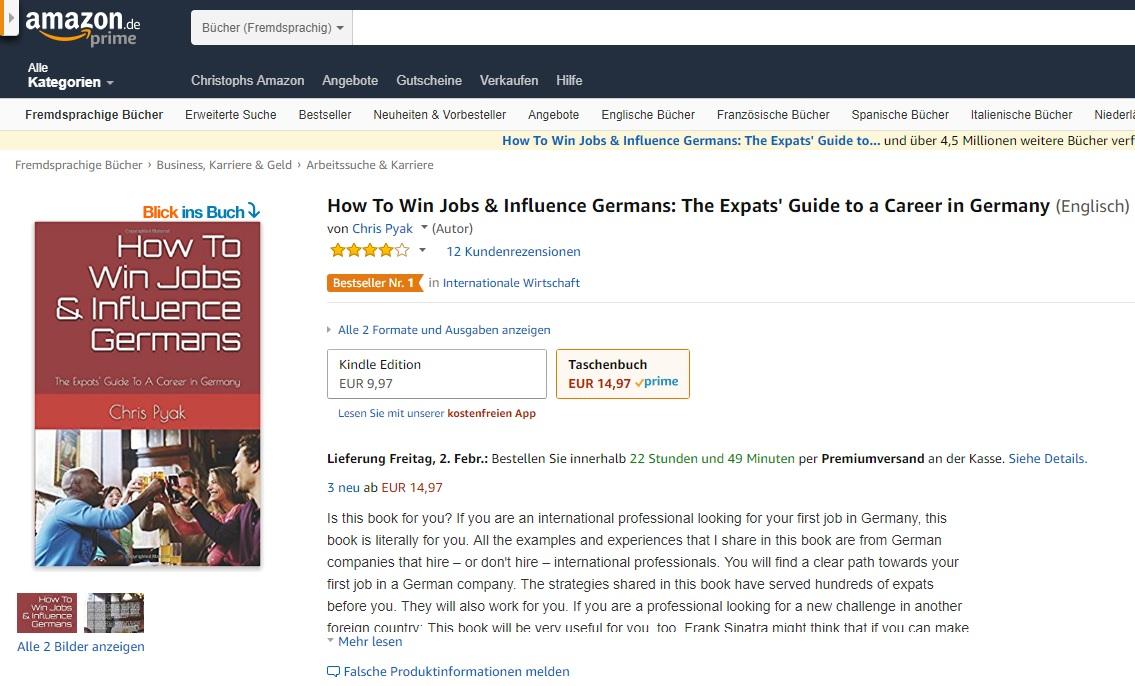 "Jobseeker Visa Germany. Get a realistic plan by Amazon ""Bestseller"" author Chris Pyak."